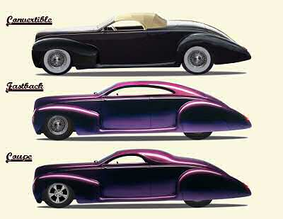 Zephyr Convertible, Fastback and Coupe, side views